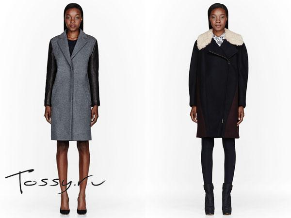 Пальто средней длины из драпа с вставками кожи