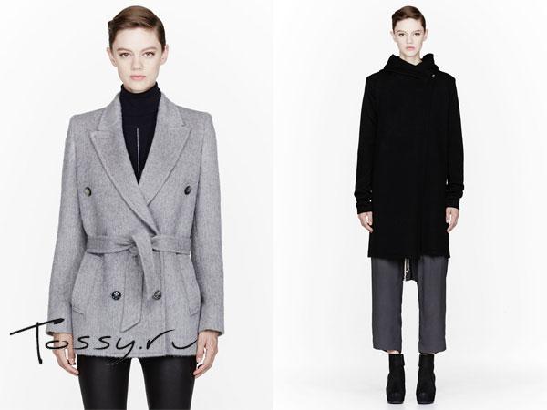 Серое короткое пальто с поясом и черное с запахом
