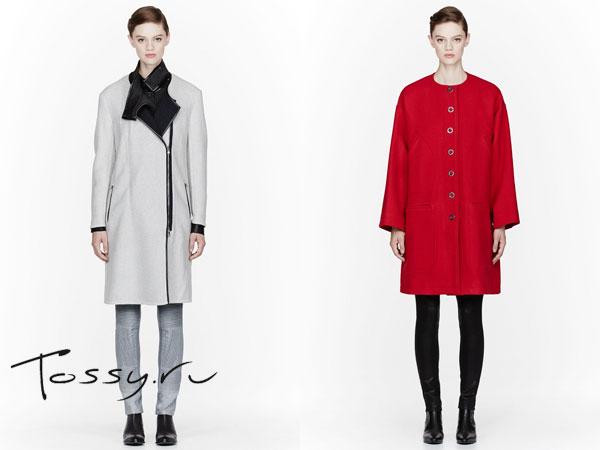 Фото светлого и красного драпового пальто