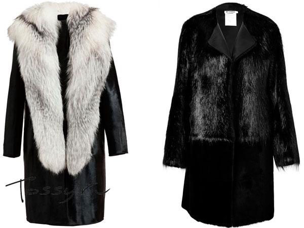 Черные меховые пальто с воротником