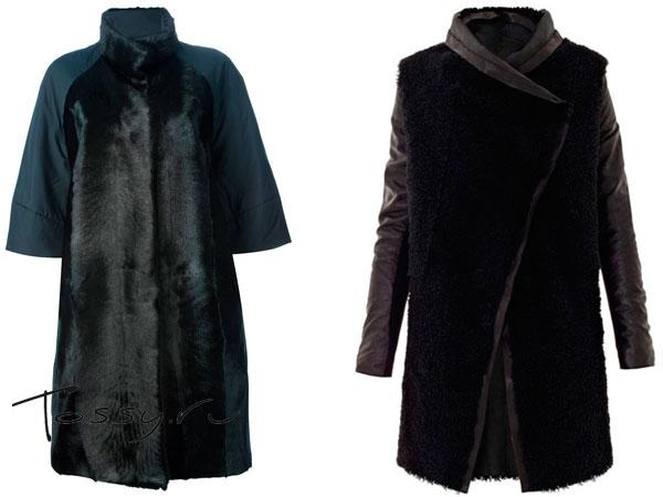 Пальто с вставками меха и кожи