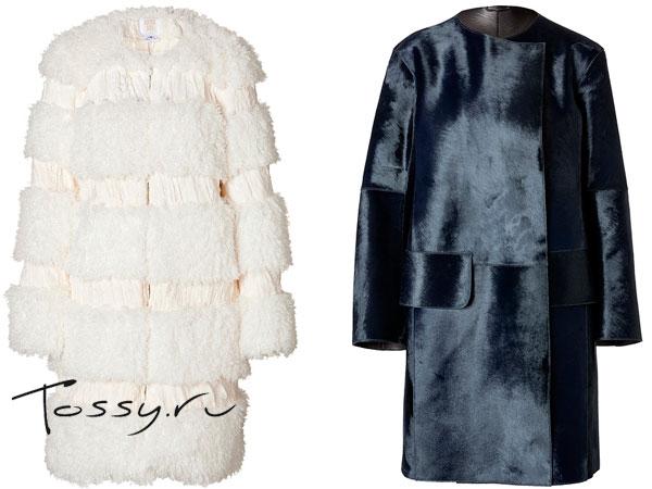 Стильные пальто на меху прямого кроя