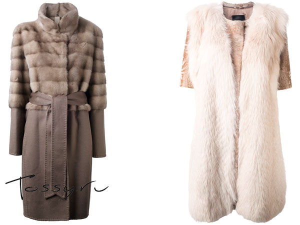 Серое пальто с поясом и персиковое с коротким рукавом