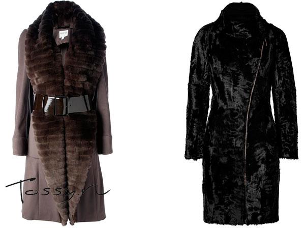 Коричневое пальто с поясом и черное из меха каракули