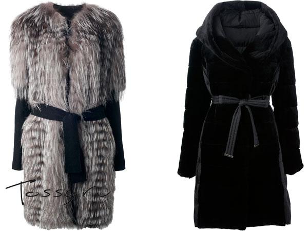Пальто из меха енота и черное с капюшоном