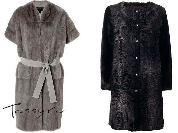 Меховое пальто с поясом и коротким рукавом и черное без ворота