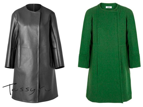 Черное кожаное пальто и зеленое шерстяное