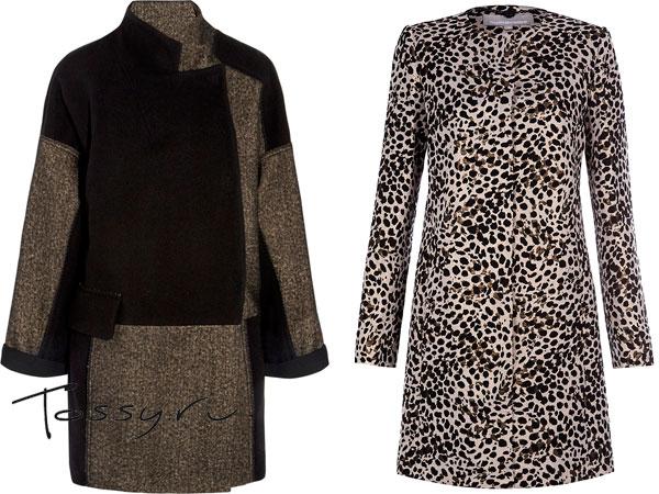 Пальто-трапеция коричневого цвета и леопардовое