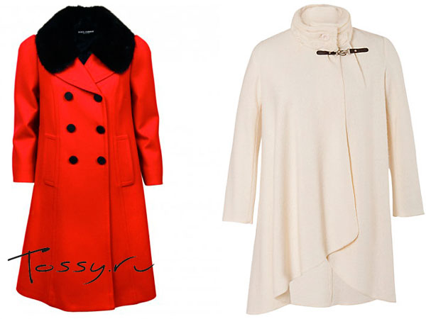 Красная модель с черным меховым воротом и белое вязаное пальто