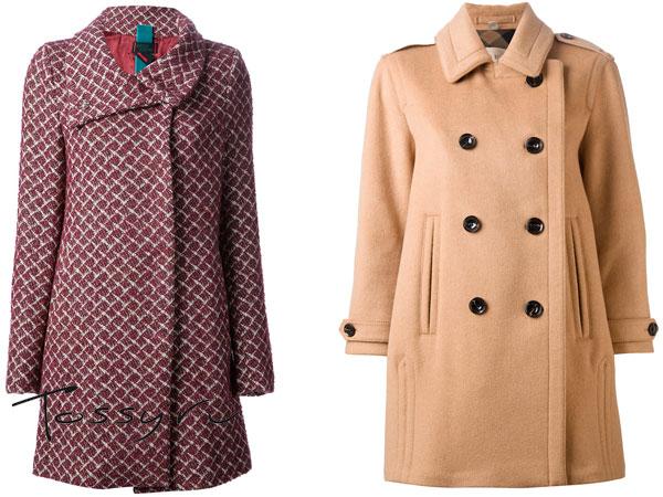 Пальто в клеточку и модель бежевого цвета на пуговицах
