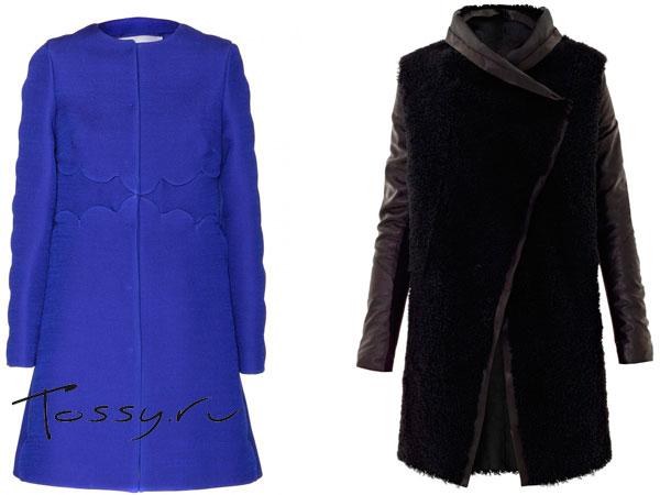 Синее и черное пальто без воротника
