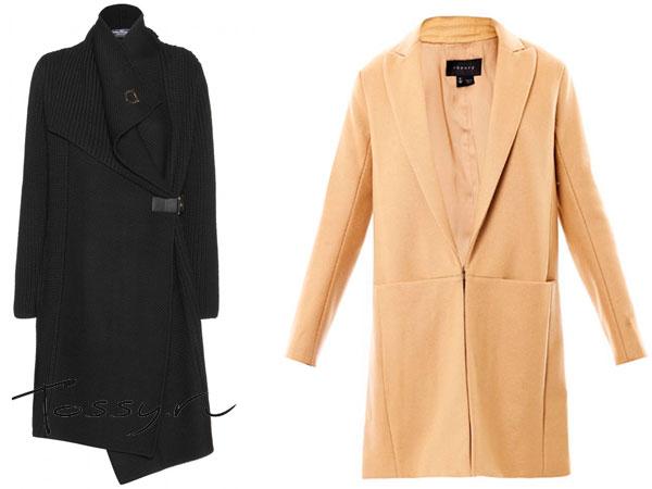 Вязаное пальто с запахом и классическое с глубоким вырезом
