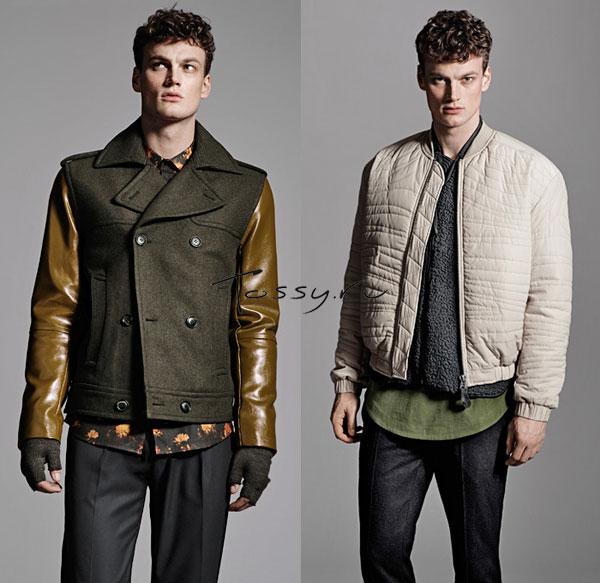 Куртка с кожаными рукавами и бежевая куртка бомбер