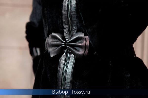 Черная шуба с кожаными вставками