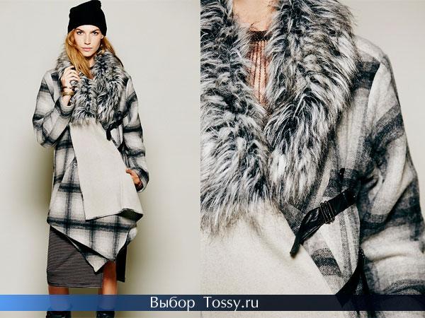 Шерстяное пальто с вставками кожи
