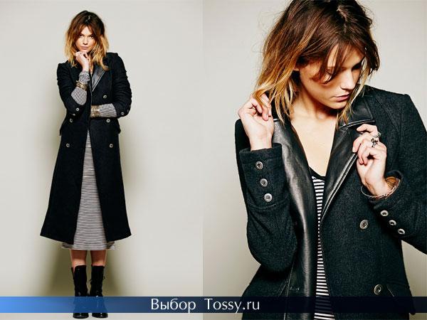 Черное удлиненное двубортное пальто