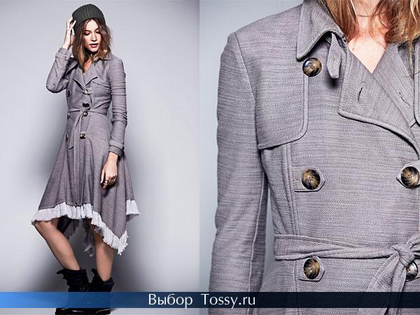 Модное серое пальто-платье