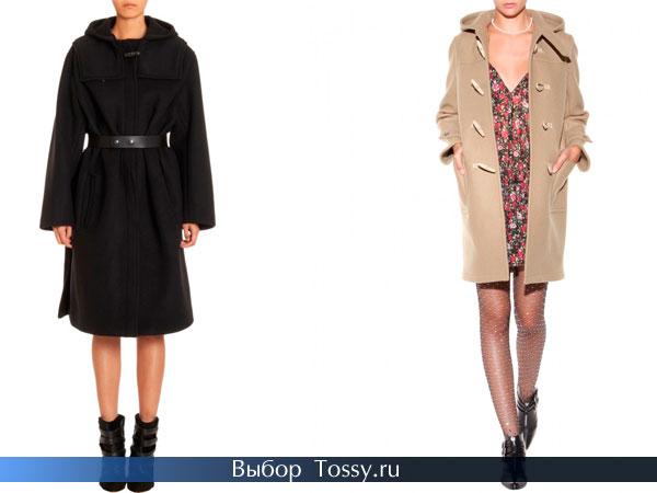 Черное пальто с кожаным поясом и бежевое на пуговицах