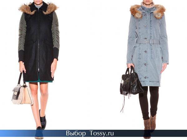 Женские пальто с меховым капюшоном