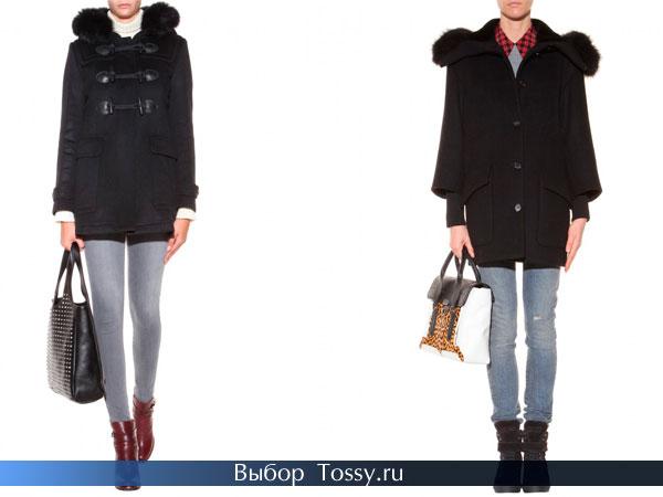 Темно-синее и черное зимнее пальто