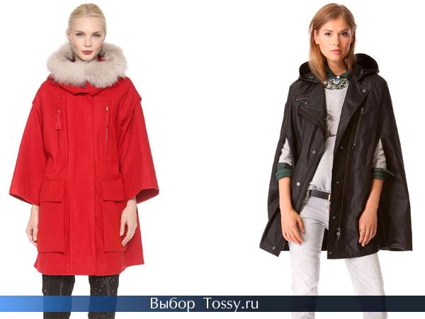 Красное и черное пальто пончо