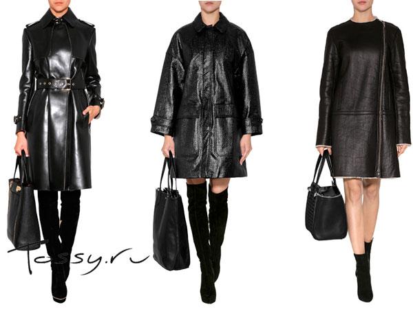 Черные пальто-трапеция на осень