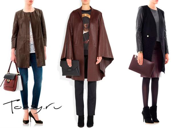 Коричневые кожаные пальто
