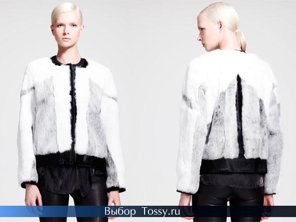 Черно-белая меховая куртка-бомбер