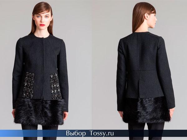 Черное пальто украшенное мехом и камнями