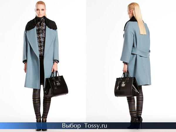 Голубое пальто с черным мехом