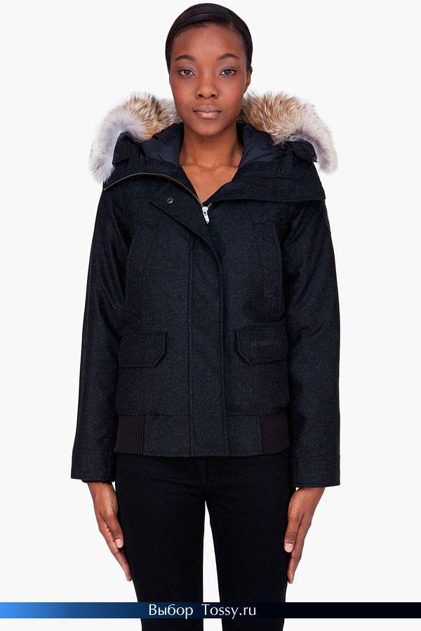 Шерстяная куртка на пуху с мехом