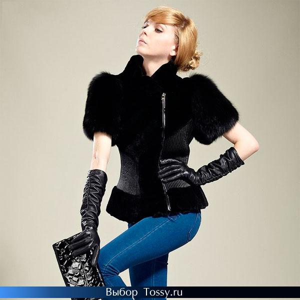 Черная женская куртка с короткими рукавами