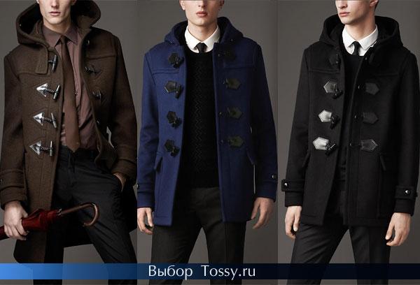Коричневое, синее и черное мужское пальто