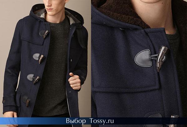 Шерстяное мужское пальто синего цвета