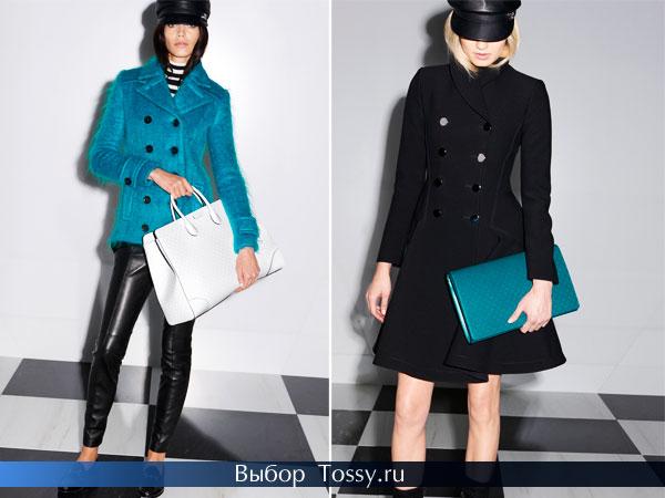 Бирюзовое и черное пальто от Gucci