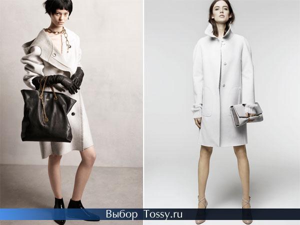 Женские модели пальто белого цвета