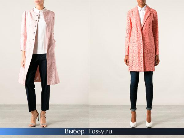 Модные розовые кружевные пальто