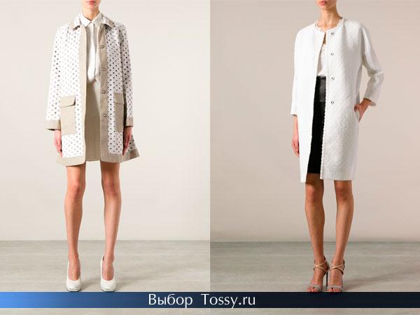 Белые пальто прямого кроя