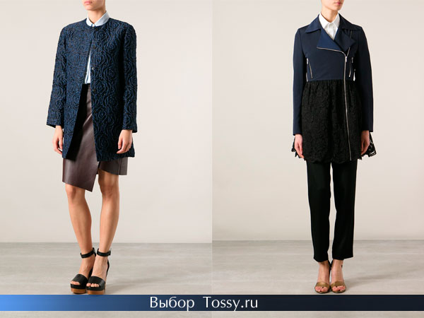 Женские модели пальто с вставками кружева