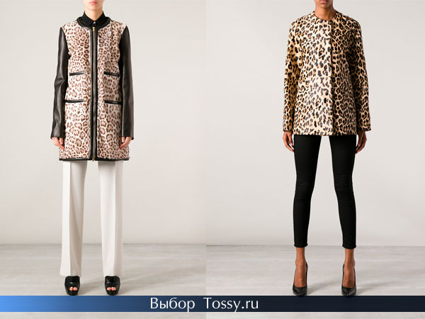 Укороченные леопардовые пальто без воротника