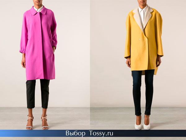 Розовое и желтое женское строгое пальто