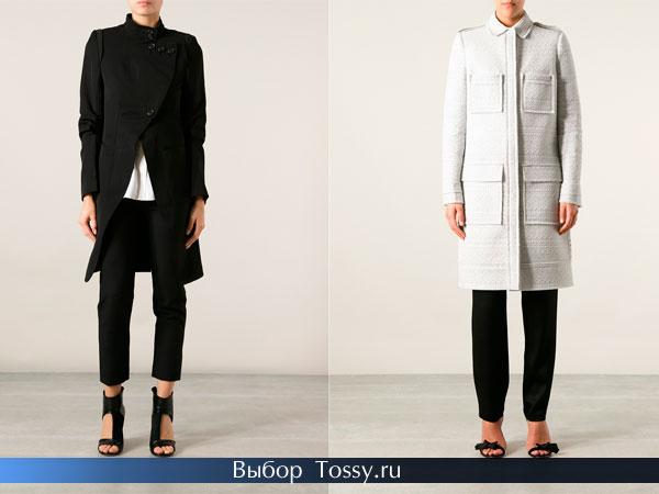 Черное и серое с карманами женское пальто