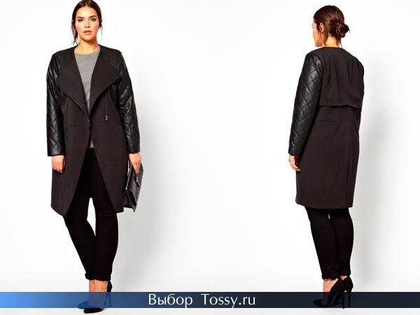 Удлиненное пальто черного цвета с кожаными рукавами