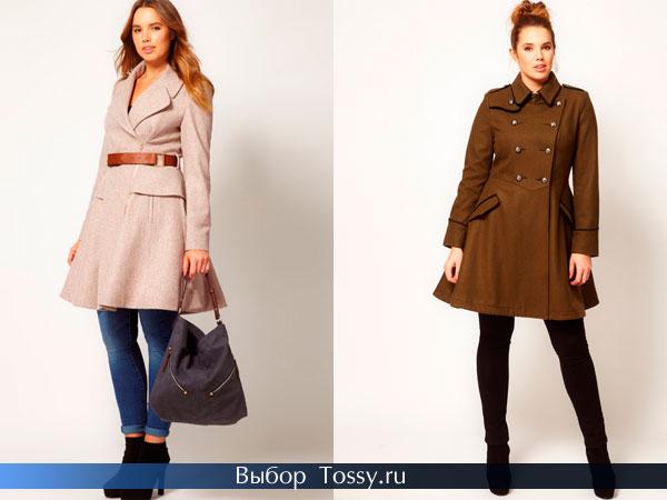 Персиковое пальто с поясом и модель защитного цвета