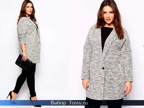Серое пальто для полных женщин