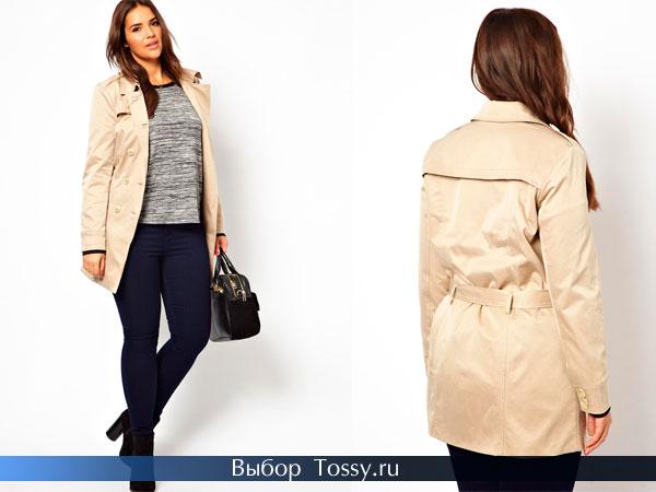 Весеннее пальто с поясом большого размера