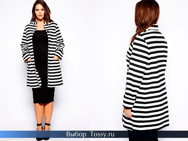 Фото пальто в черно-белую полоску