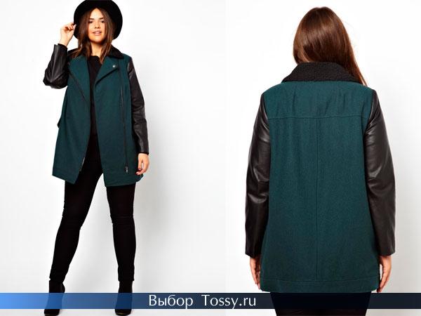 Синее драповое пальто с кожаными рукавами