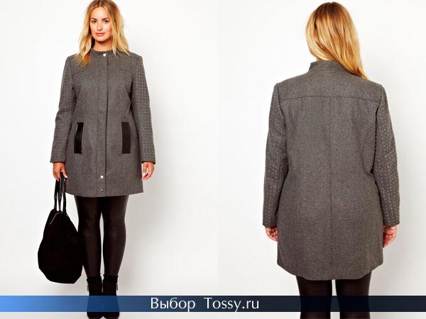 Серое пальто с кожаными вставками без воротника
