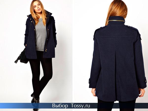 Темно-синее пальто шанель